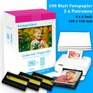 3x Patrone & Fotopapier Kompatibel für Canon KP-108IN Selphy CP1300 CP1200 CP910