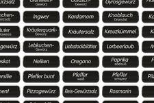 70 schwarze Gewürzetiketten, Aufkleber, Etiketten, Gewürze, weiße Schrift