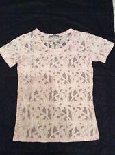 Unworn Pretty Lace Effect Sheer Pink T Shirt Top UK 6
