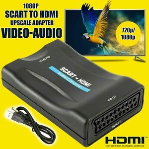 1080P SCART To HDMI Composite Video Scaler Converter Audio Adapter For DVD TV
