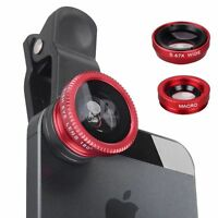 Universal Red 3in1 Clip Lens On Camera Kit Wide Angle Fish Eye iPhone Samsung