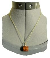 """New NATURAL JASPER Stone Charm Pendant- 18""""Necklace Red Brown Goldtone stud bale"""