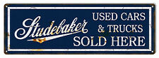 Sold Here Studebaker Large Reproduction Garage Shop Metal Sign 8x24