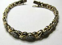 "Ross Simons Sterling Silver Tennis Bracelet Gold X Diamond Chip Accent 7.5"""