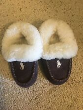 Toddler Boys Brown Ralph Lauren Polo Slippers Moccasins Excellent Condition!