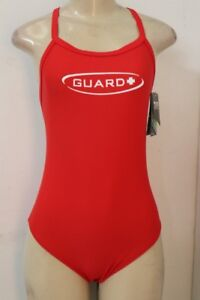 TYR Diamondback One Piece Guard Lifeguard Swimsuit Red Women's Size 38