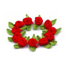 10 PK Small Mini Satin Ribbon Rose Buds Flowers Leaves Embellishment 1.5cm UK