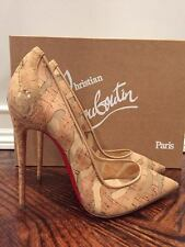 NIB Christian Louboutin So Kate 120 Cork Mesh Nude Beige Heel Pump Shoe 39