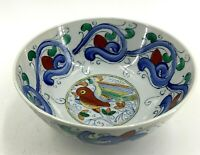 """Chinese Porcelain Colorful Hand Painted Birds Serving Bowl Stamped WFBI 8"""""""