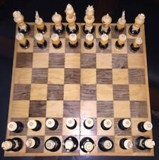 "Bone / Wood upright Mexican Pulpit hand carved Chess set ""A"""