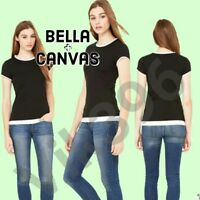 Bella Ladies Size S-2XL NEW Sheer Long Length 2 in 1 Jersey Womens T-Shirt Black