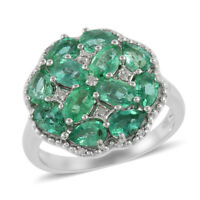 925 Sterling Silver Rhodium Over AAA Emerald Cluster Ring Jewelry Size 7 Ct 2.5