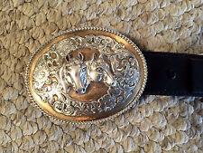 Vintage Tony Lama Silver Western Belt Buckle with Belt