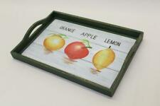 Wooden Tray Orange Apple Lemon Picture Handpainted Kitchenalia Display G5