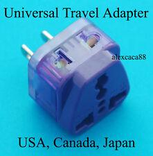 Universal UK EU AU to USA Canada Japan Travel Adaptor AC Power Plug 2 Receptacle