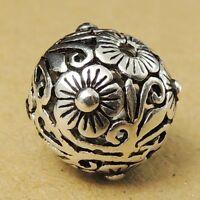 1 PCS 925 Sterling Silver Flower Bead Vintage DIY Jewelry Making Part WSP018X1
