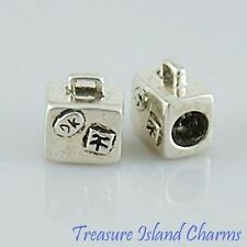 SUITCASE TRAVEL .925 Solid Sterling Silver EUROPEAN EURO Spacer Bead Charm