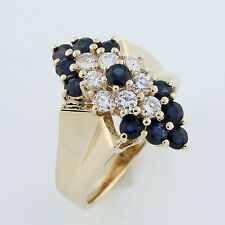 14k (Solid, Unplated) Yellow Gold Diamond Blue Sapphire Flower Cocktail Ring 0.5