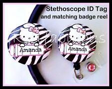 CUSTOM NAME Hello Kitty NURSE Badge Reel and Stethoscope ID Tag Set