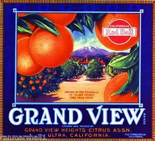 Ultra Terra Bella Tulare County Grand View Orange Citrus Fruit Crate Label Print