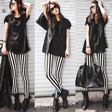 FD4525  Women Rock Punk Funky Nana Gothic Vertical Stripes Leggings Pants