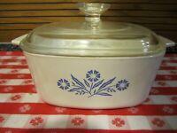 Vintage Corning Ware Blue Cornflower Casserole ~ 1.5 Qt ~A1 1/2 B, Lid Pyrex A7C