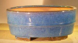 "Blue Oval Ceramic Bonsai Pot Professional Series 10"" x 8"" x 4"" Home Decoration"