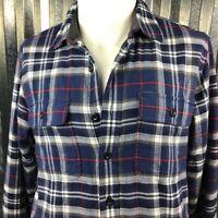 L.L.Bean Cotton Men's Plaid Shirt Jacket Blue Red White Flannel Size Med Tall