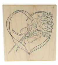 Great Impressions Rose Flower Heart Ribbon Wooden Rubber Stamp
