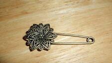 Bronze Coloured Sun Flower Design Pin Brooch ideal for kilt, scarf, cardigan etc