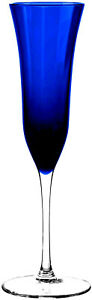 "Crystal Cobalt Blue Glass Flute 11"" Tall Barware Bar Gift Wedding Champagne Wine"