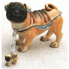Kubla Crafts Jeweled Trinket Box - PUG with NECKLACE - KUB-3937PN