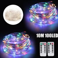 2X RGB 10M 100LED Party Wedding Fairy Light USB String XMAS Wall Lamp w/Remote