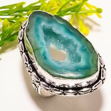 Window Agate Druzy Gemstone Handmade Fashion Jewelry Ring Size 8 SR1383