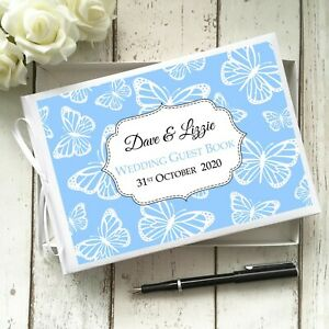 PERSONALISED WHITE WEDDING PARTY GUEST BOOK BUTTERFLY DESIGN ~ CHOICE OF COLOUR