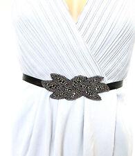 Noir Argent Foncé Charbon Perlé Ceinture 1920s Tambour Grand Gatsby Vintage 1021