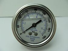 "302LFW-254F 2.5"" Glycerin Filled SS 316 Internal Gauge 1/4"" NPT CBM 0/160 psi"