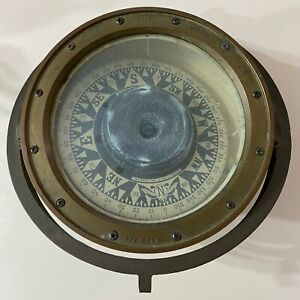 VTG KELVIN WHITE Boston Wilfred & Sons Inc Brass Nautical Ship Compass Orb 25LBS