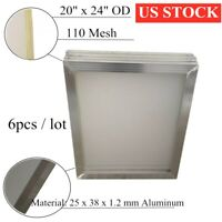 US Stock 6pcs 20'' x 24'' Aluminum Screen Printing Frame with 110 Mesh Count NEW