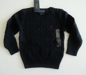 NWT Ralph Lauren LS Solid Navy Cable Crewneck Pullover Sweater Sz 4/4t NEW $55