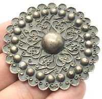 Vintage Sterling Silver Brooch Pin 925 Flower Large Antique C Clasp