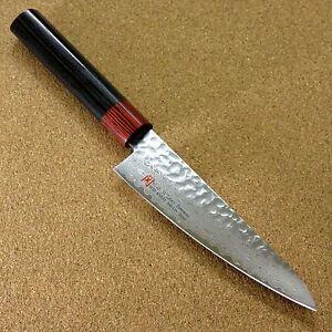 """Japanese SETO ISEYA-I Kitchen Small Santoku Knife 5.3"""" Damascus Hammered JAPAN"""