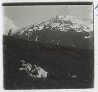 Suisse Andermatt Coppia Foto Amateur Stereo Th2n12 Placca Da Lente Vintage