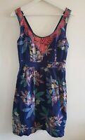 Fat Face Navy Floral print Dress Size 12 <EE1397