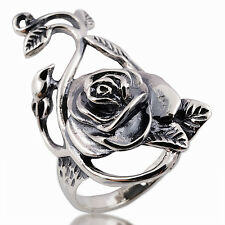 Rose flower Ring 925 Sterling Silver Size.9 Circumference=59 mm