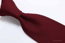 LANVIN Solid Burgundy GRENADINE Silk Tie Excellent 3.75 x 57.5 EH02