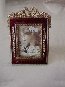 VINTAGE ORNATE GOLD TONE AND RED ENAMEL SMALL PICTURE FRAME NEW