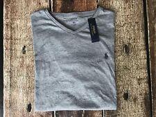 Polo Ralph Lauren Cotton Jersey V-Neck T-shirt Grey Mens XXL New