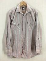 Vintage Karman Gray Striped Pearl Snap Western Rockabilly Shirt Sz Large