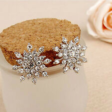 Fashion Elegant Womens Cute Crystal Rhinestone Snowflake Ear Studs Earrings ghfj